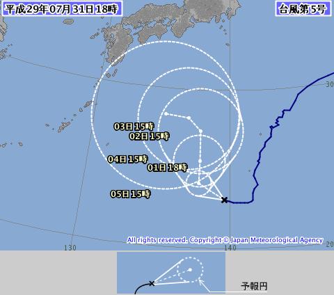 台風5号予想進路図
