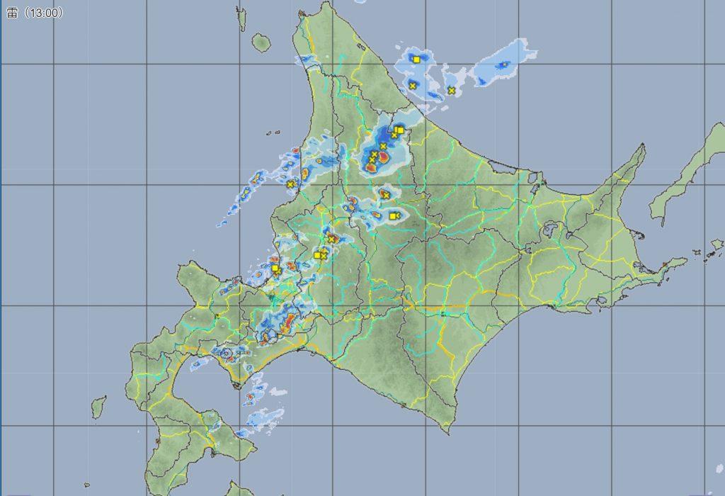 8月26日13時レーダー雷雲