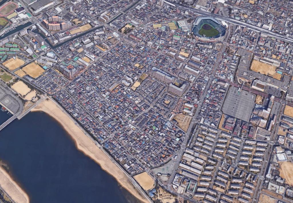 甲子園球場は海から1㎞程度