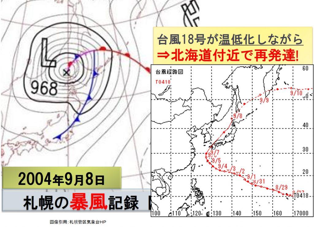 札幌の暴風記録の気圧配置