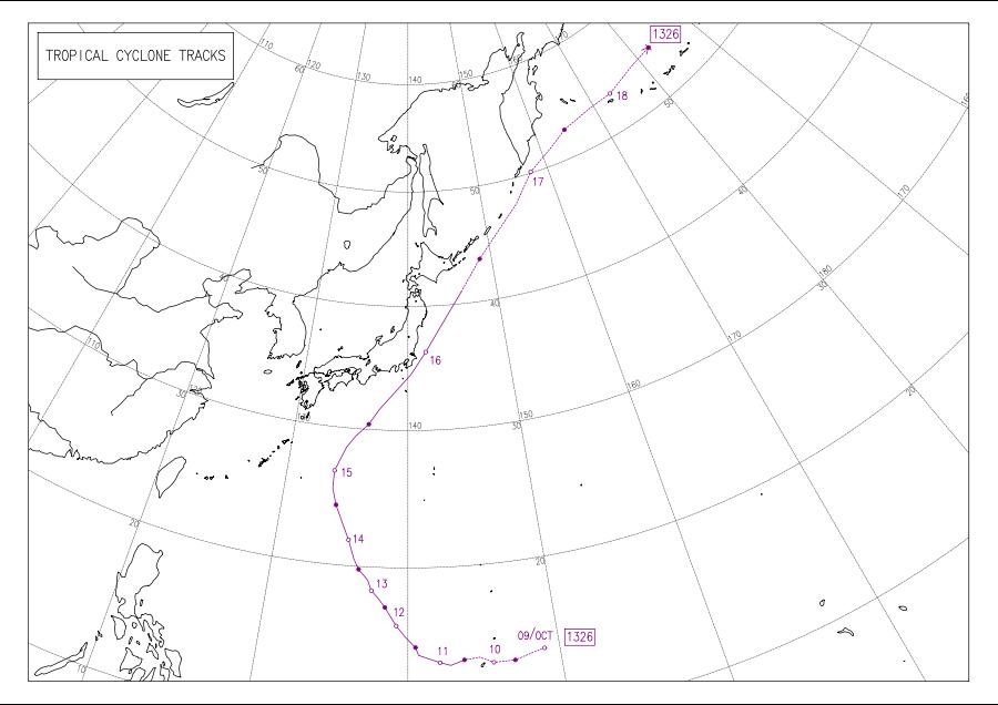 2013年10月の台風26号の進路