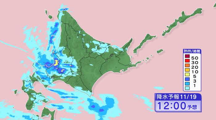HBC天気画像を引用 昼過ぎまでは札幌中心部にも強い雪雲が入りやすい