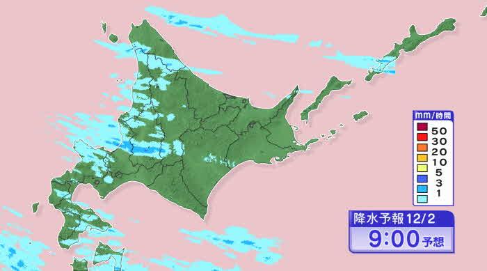 午前9時の雪雲の予想 岩見沢周辺にかかり続ける HBC天気WEBサイトより引用