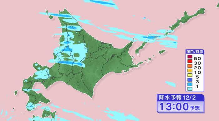 午後1時の雪雲の予想 雪雲は岩見沢より北へ移動 HBC天気WEBサイトより