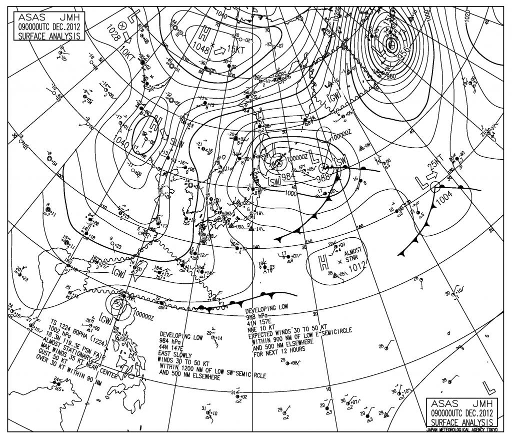 西興部と滝上で1日に80センチ以上の雪が降った日 2012/12/9 の地上天気図