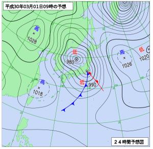 あす3月1日午前9時の予想天気図 気象庁WEBページより