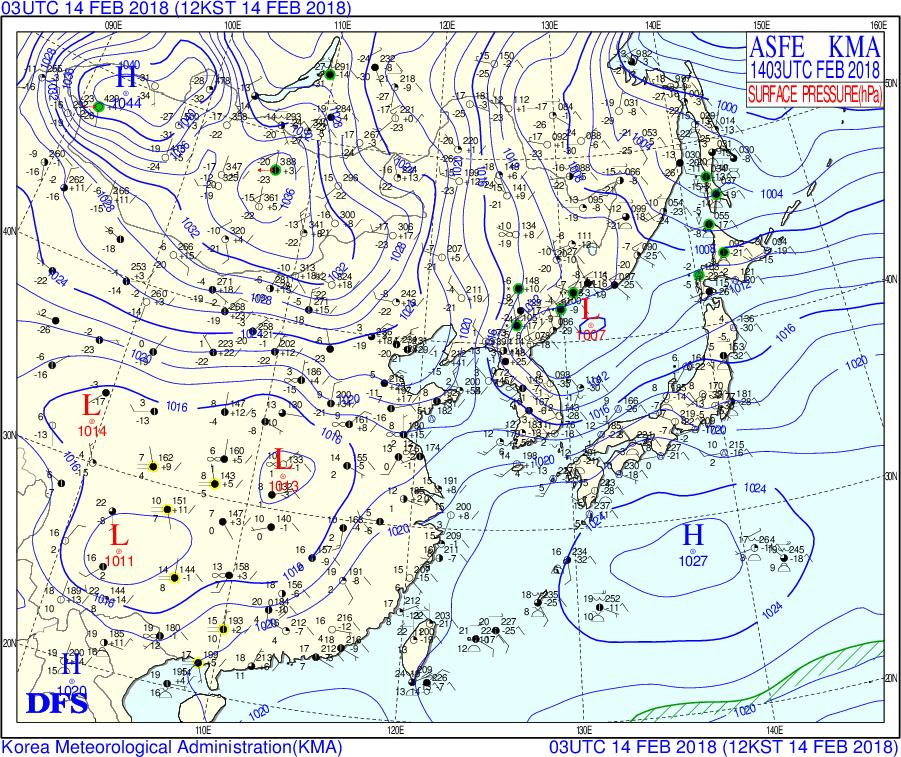 女子1000mが行われた2/14の天気図 韓国気象庁WEBページより